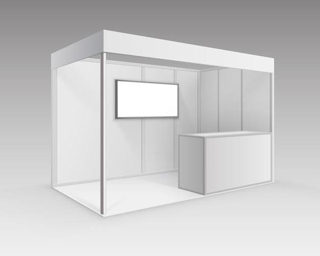 背景の視点で分離されたカウンター画面でプレゼンテーション用の白い空白の屋内展示会ブース標準スタンド Premiumベクター