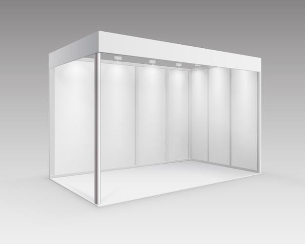 背景に分離された視点でスポットライトを使用したプレゼンテーション用の白い空白の屋内展示会ブース標準スタンド Premiumベクター