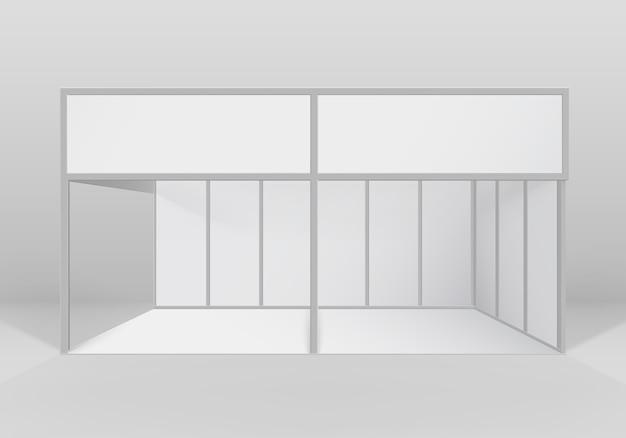 흰색 빈 실내 무역 전시회 부스 표준 스탠드 프리미엄 벡터