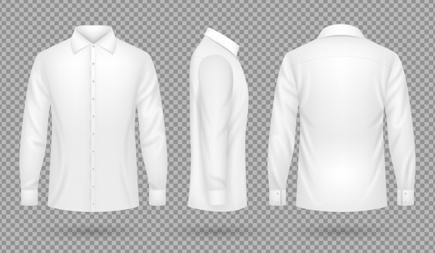 White blank male shirt with long sleeves in front, side, back views. realistic vector template isolated Premium Vector