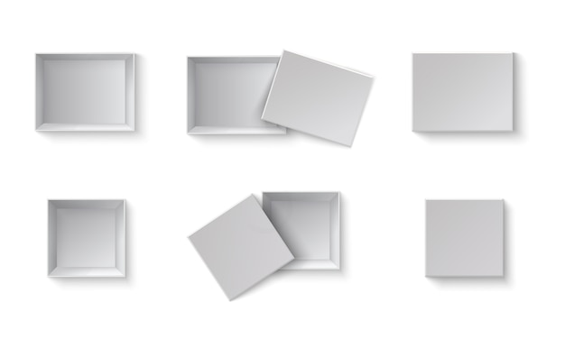 White blank packaging gift boxes. a set of open and closed boxes at different angles. white object on a transparent background. Premium Vector