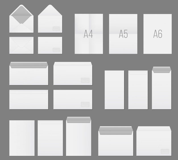 White blank paper envelopes template set. Premium Vector