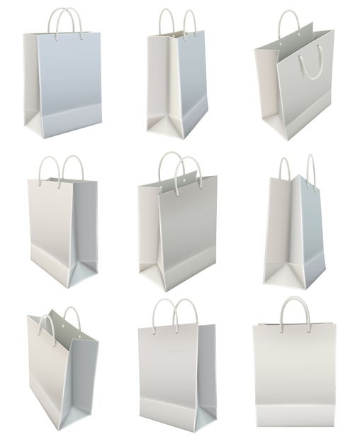 White blank paper shopping bag set Free Vector