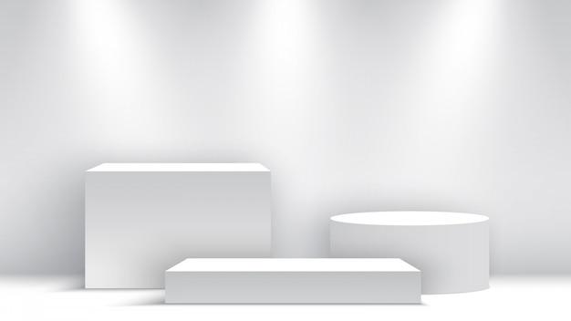 Белый пустой подиум. пьедестал. место действия. коробки. иллюстрации. Premium векторы