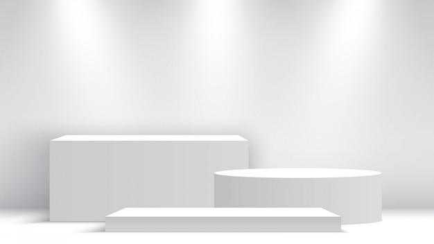 Белый пустой подиум. постамент с точечными светильниками. место действия. коробки. иллюстрации. Premium векторы