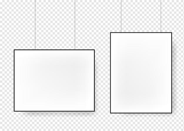 Белые пустые плакаты, висящие на переплетах Premium векторы