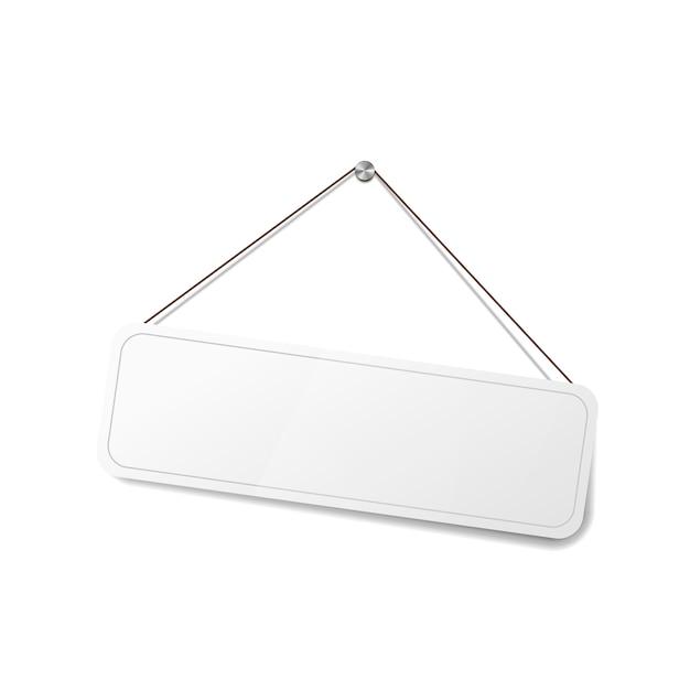 밧줄에 매달려 흰색 빈 기호, 흰색 상점 문 템플릿 프리미엄 벡터