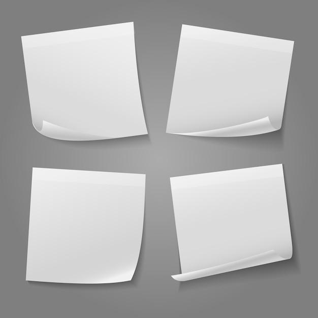 Белый чистый квадрат памятки бумажный стикер вектор акций. иллюстрация стикер к сведению сообщение Бесплатные векторы