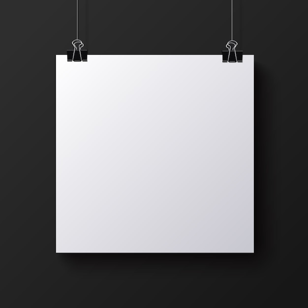 White blank square sheet of paper, mock-up Premium Vector