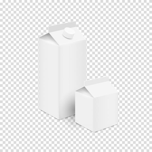 White blank tetra pak carton boxes for juice and milk Premium Vector