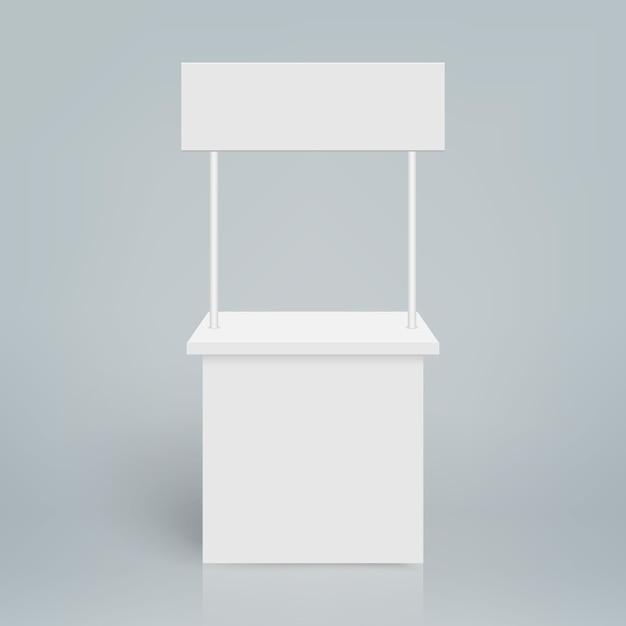 白い空白の見本市ブース。ラウンドプロモーションスタンド Premiumベクター