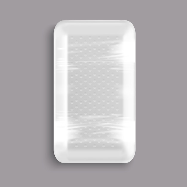 White blank wrapped plastic food tray container Premium Vector