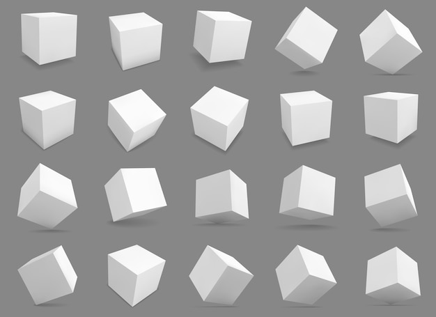 White blocks with different lighting and shadows, boxes in perspective. Premium Vector