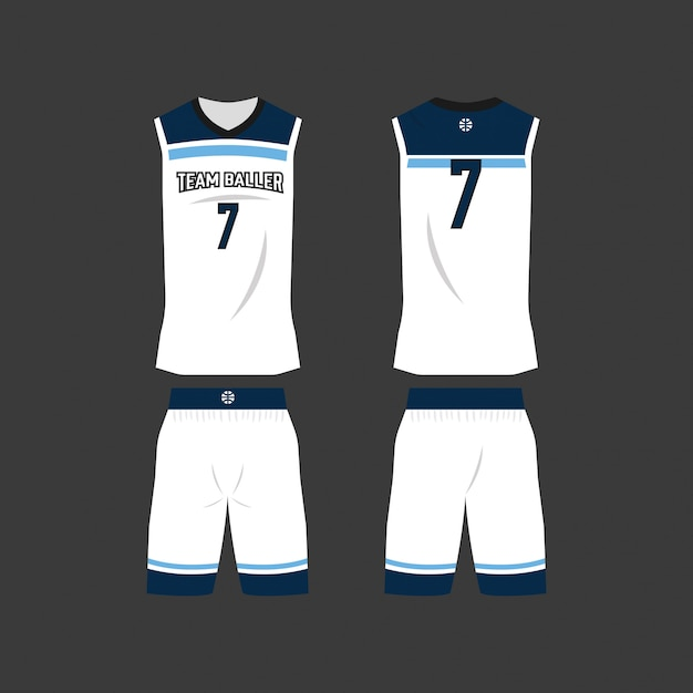 13ede9629030 White and blue basketball jersey template Premium Vector