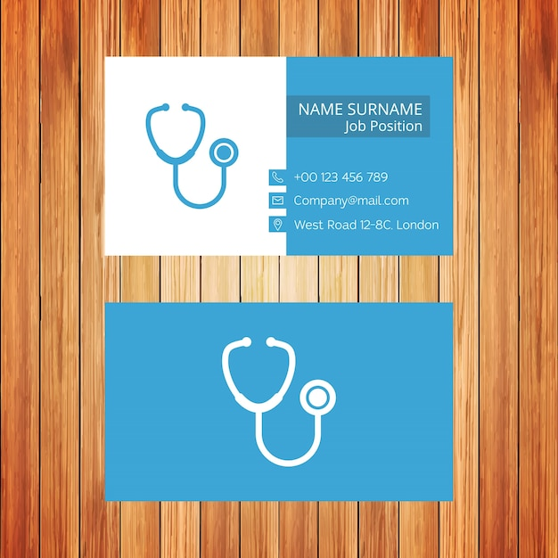 White and blue doctor business card Free Vector