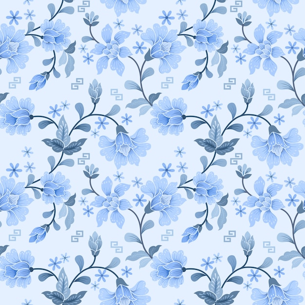 White and blue flower seamless pattern Premium Vector