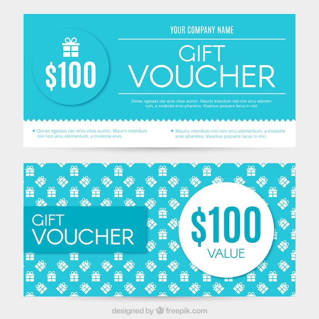 White and blue gift coupons Free Vector