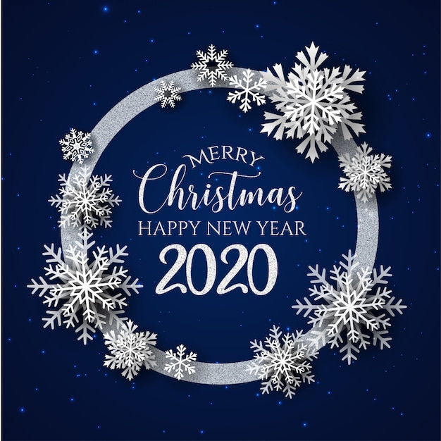 White & blue merry christmas and happy new year 2020 ...