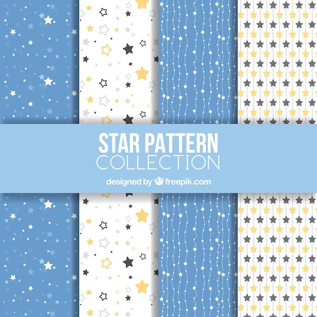 Collezione di motivi a stelle bianche e blu Vettore gratuito