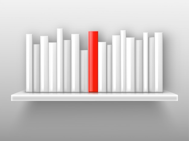 White books and red one on shelf Free Vector