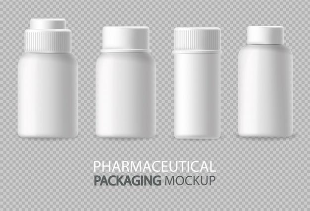 Белые бутылки реалистично изолированы. рекламируйте пустой контейнер. косметика, медицина или зубная паста 3d подробные иллюстрации Бесплатные векторы