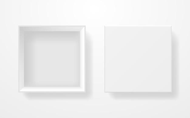 흰색 상자 평면도. 밝은 배경에 현실적인 템플릿입니다. 정연한 판지 상자. 뚜껑이있는 용기를 엽니 다. 제품 블랭크를 청소하십시오. 삽화. 프리미엄 벡터