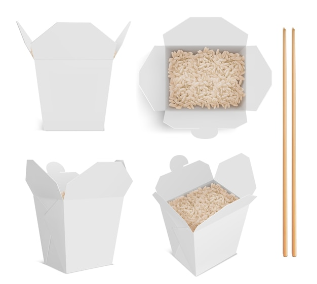 White box with rice and chopsticks, paper packaging for chinese or japanese food. Free Vector