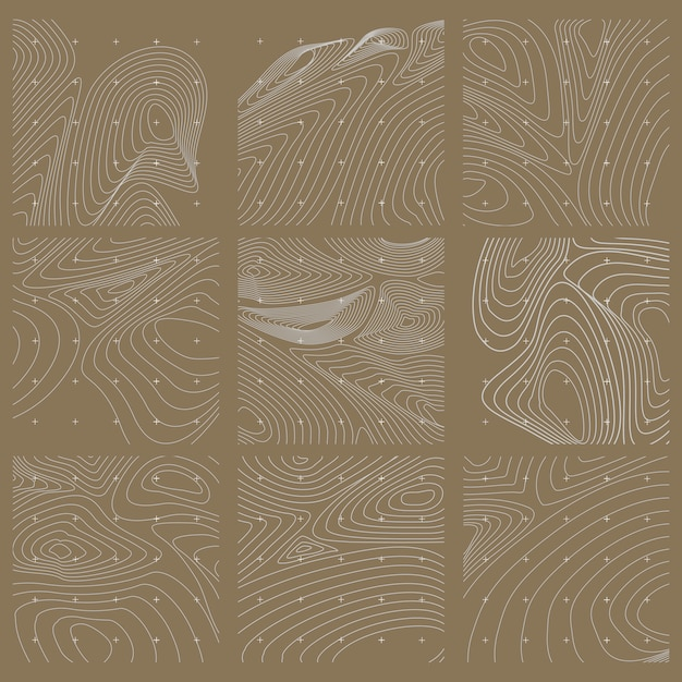 White and brown abstract contour line map set Free Vector