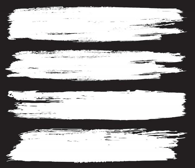 White brush stroke banners Premium Vector