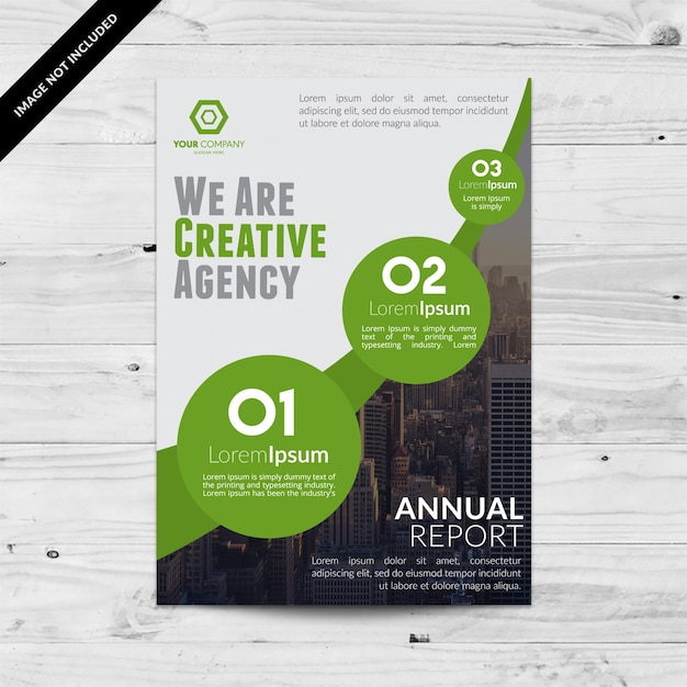 White business brochure with green geometric details