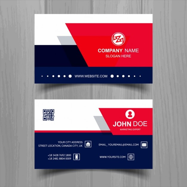 White business card with blue and red shapes vector free download white business card with blue and red shapes free vector reheart Images