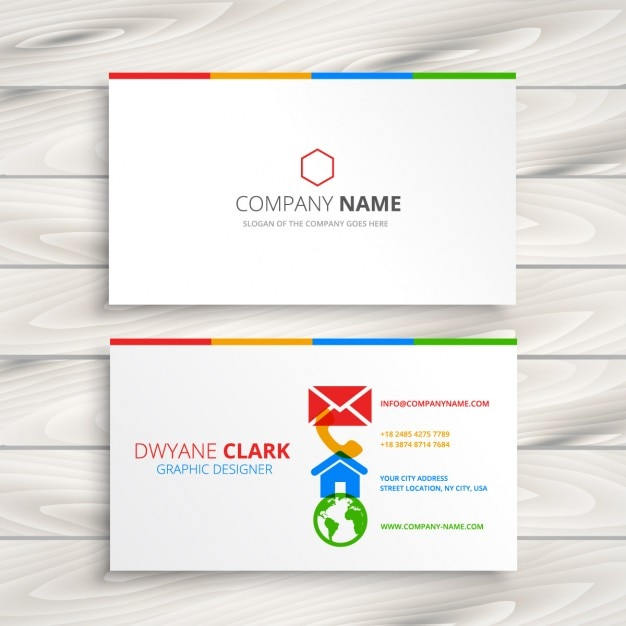 White business card with colorful icons vector free download white business card with colorful icons free vector reheart Image collections