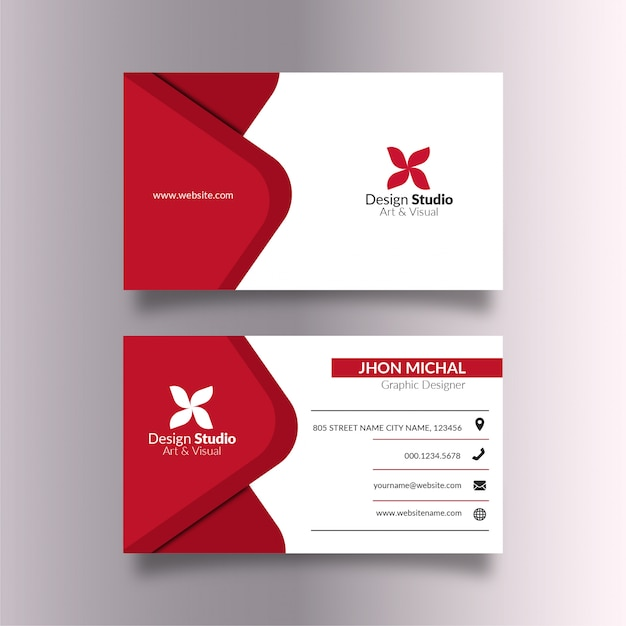 White business card with elegant red details Premium Vector