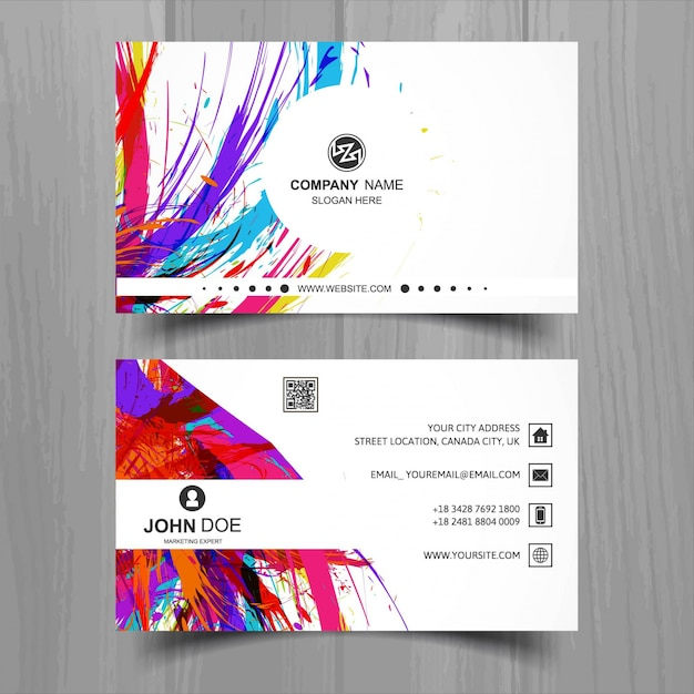 White business card with ink stains Free Vector