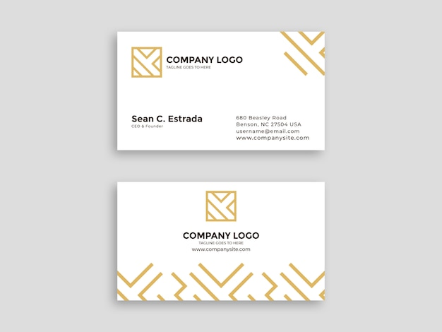 White business card with luxury pattern Premium Vector