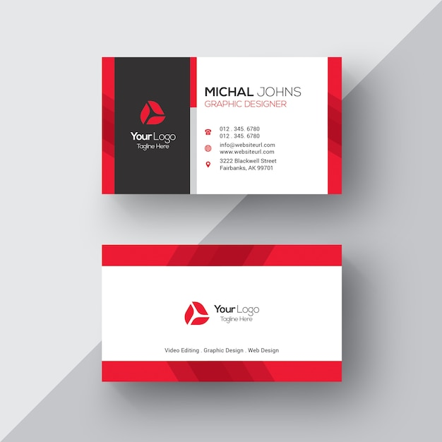 White business card with red details vector free download white business card with red details free vector colourmoves