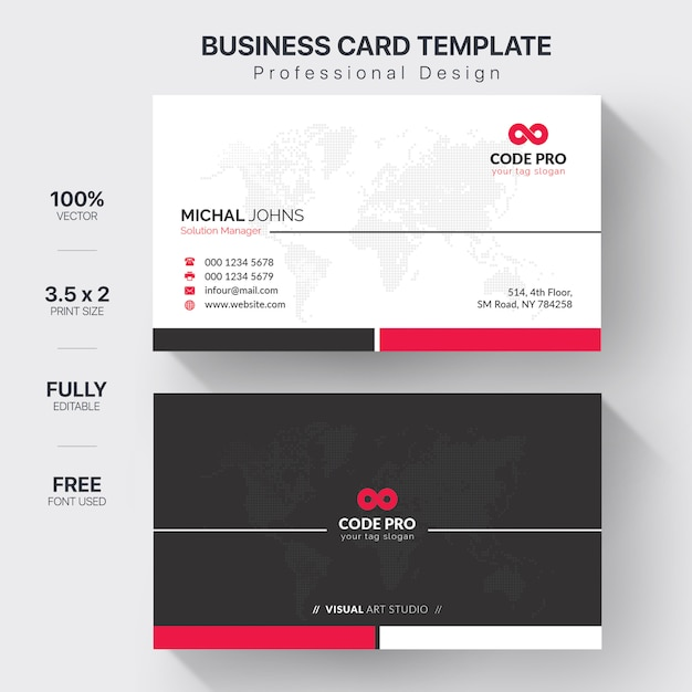 White business card with red details Free Vector