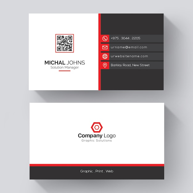 White business card with red details Premium Vector
