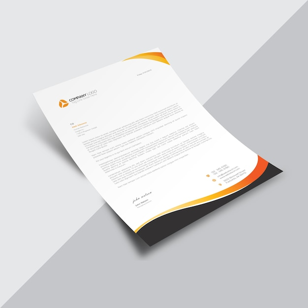 White Business Document With Black And Orange Details Vector
