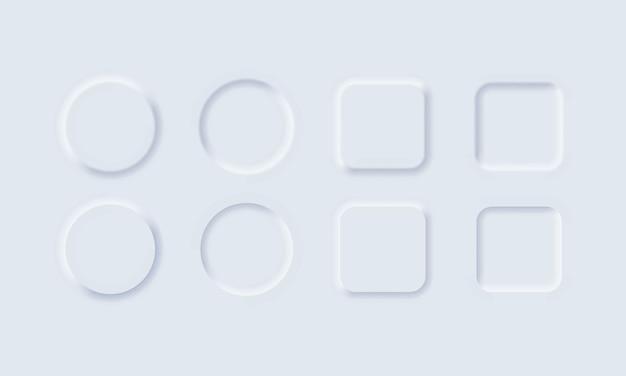 웹 사이트 또는 앱용 신형 스타일의 흰색 버튼 프리미엄 벡터
