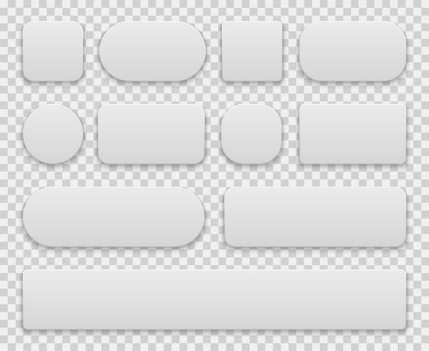 White buttons set Premium Vector