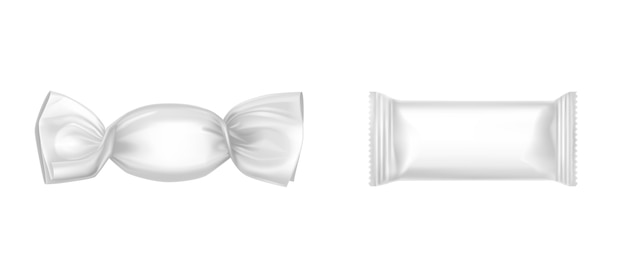 White candy wrappers set Free Vector