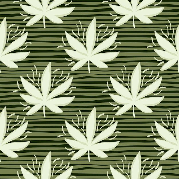 White cannabis leaves seamless pattern. stripped green background. decorative backdrop for wallpaper, wrapping paper, textile print, fabric.  illustration. Premium Vector