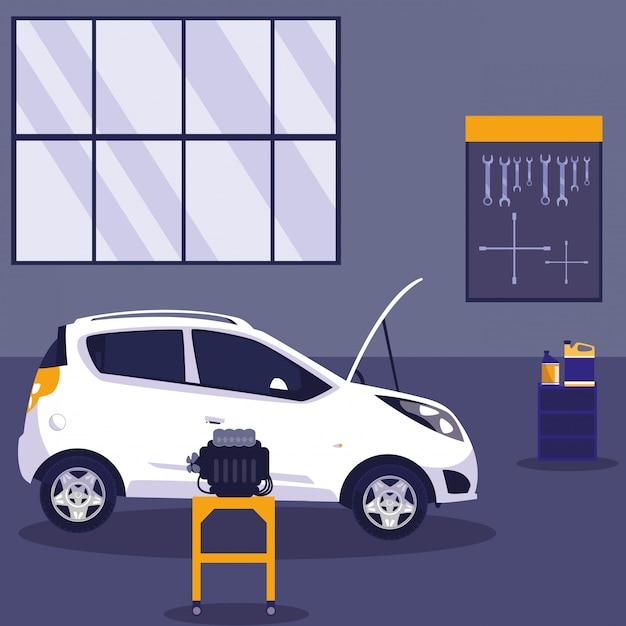 White car in maintenance workshop Premium Vector