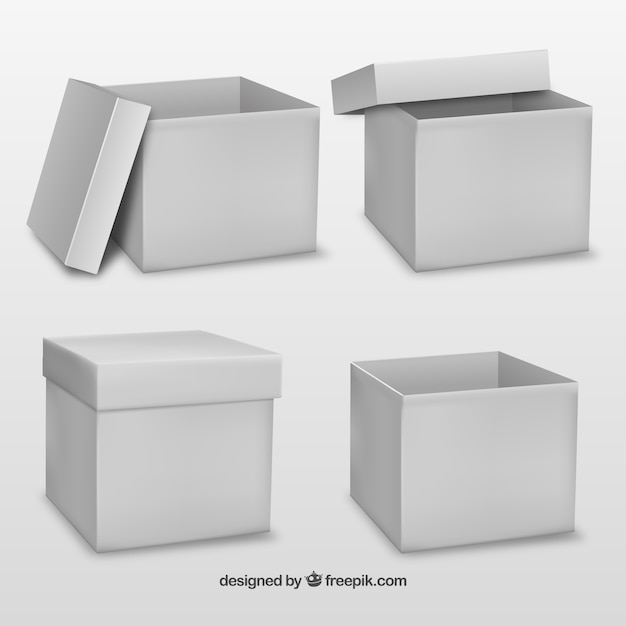 White cardboard box mock up Free Vector