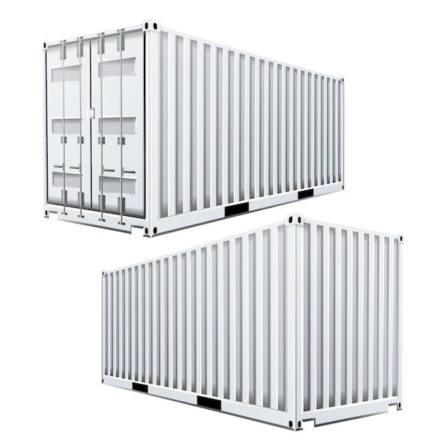 White cargo container 3d Premium Vector