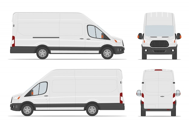 White cargo van car template in different angles. Premium Vector