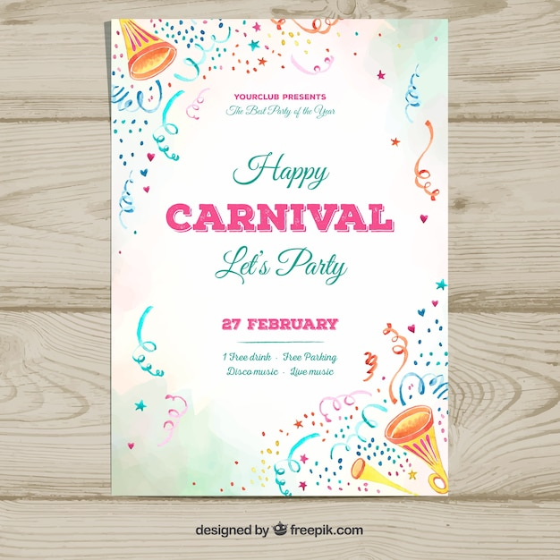 White carnival party flyer template Free Vector