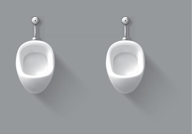 Orinale ceramico bianco sulla parete nella toilette maschio Vettore gratuito