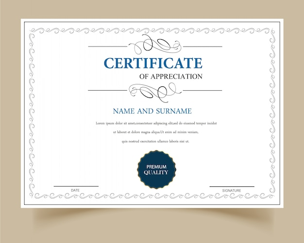 white certificate of appreciation vector free download